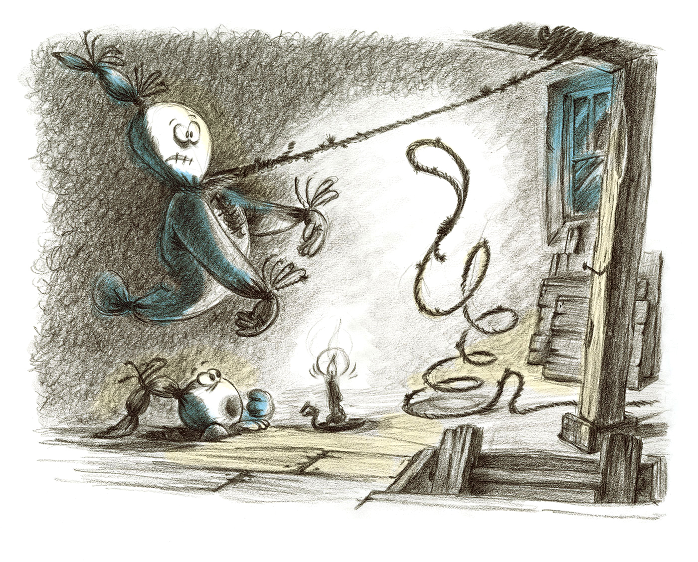 Spooky Ghosts - Book Illustration - In the attic