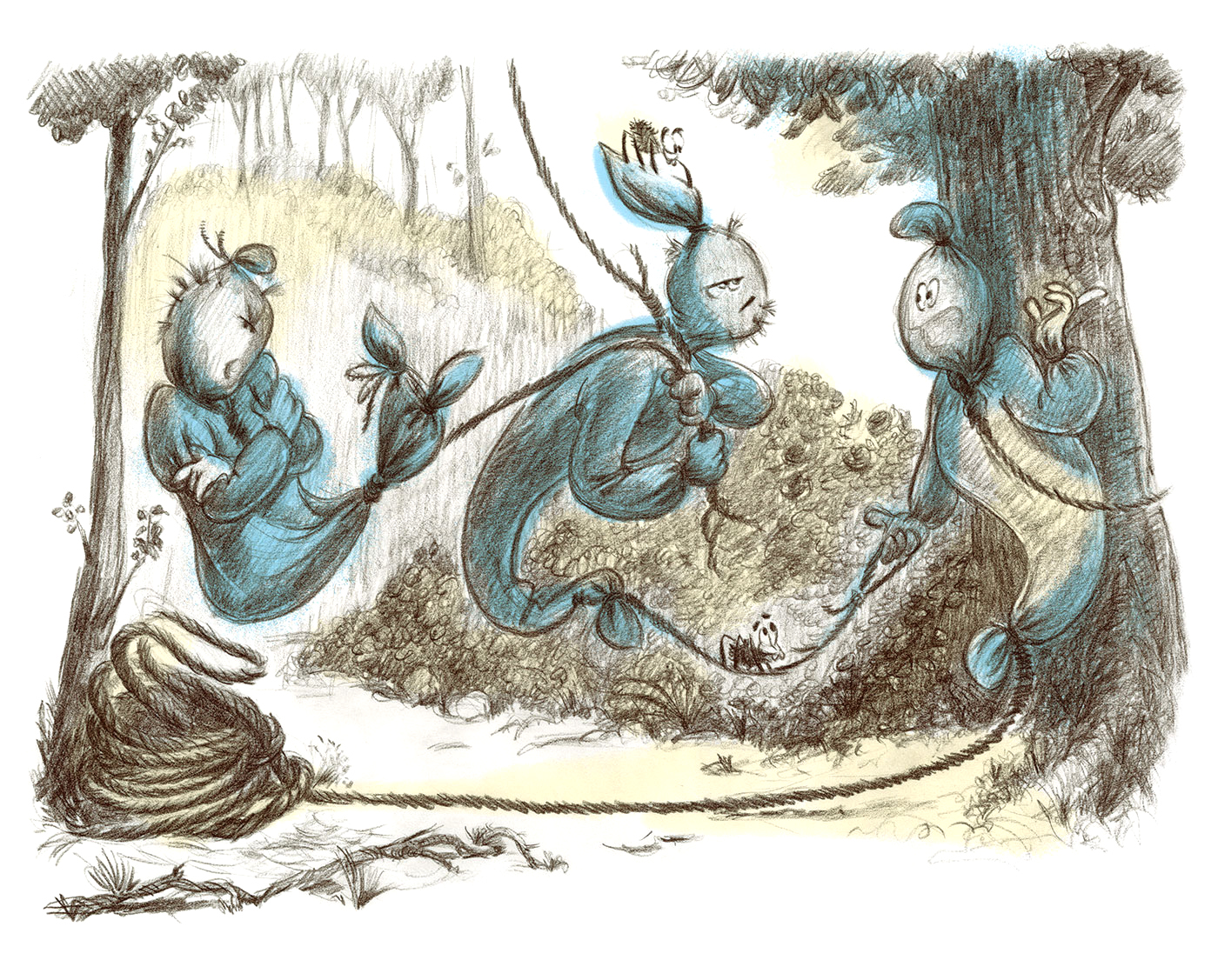 Spooky Ghosts - Book Illustration - In The Forest