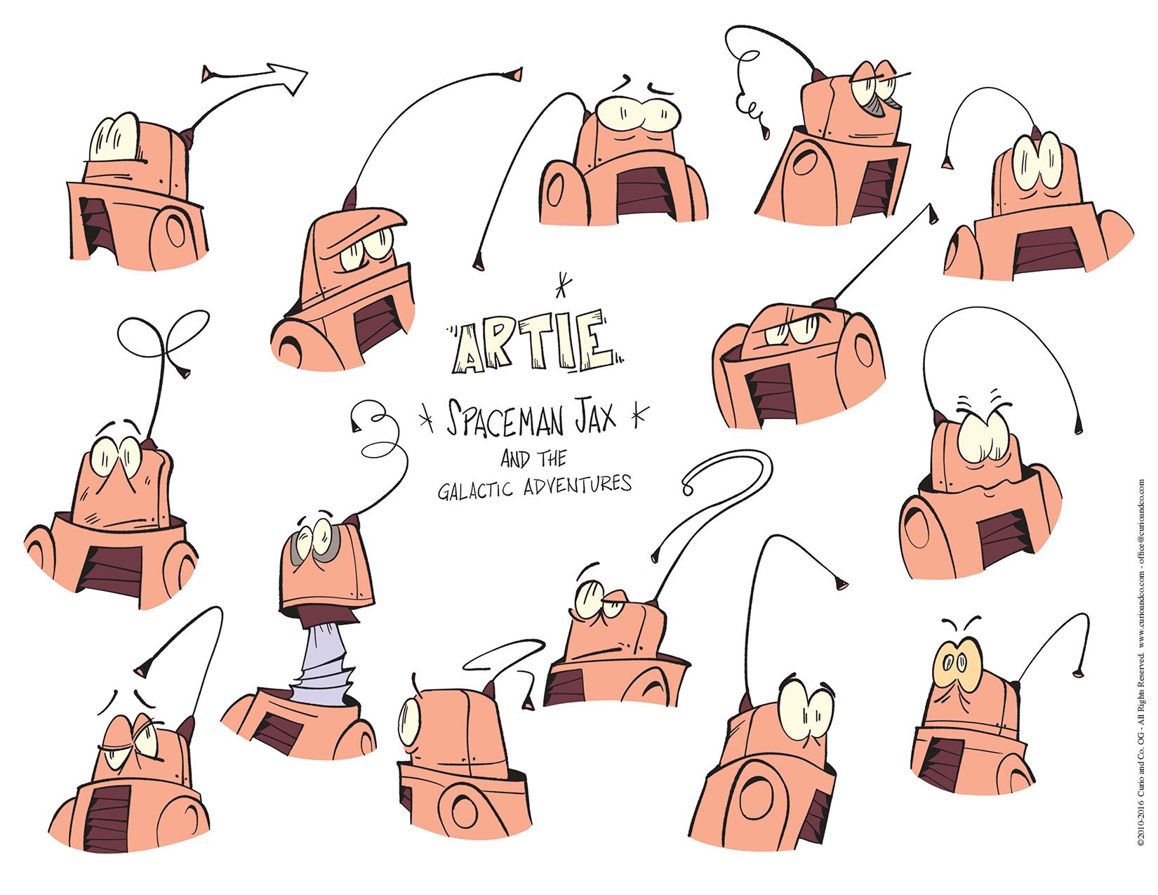 Spaceman Jax - Artie facial expressions - model sheet