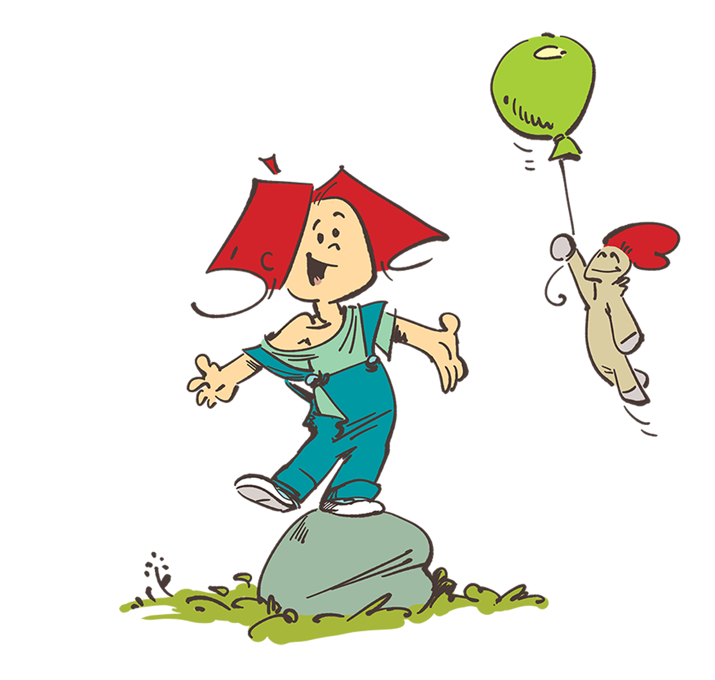 Frank and His Friend on a rock with a balloon - illustration by Cesare Asaro