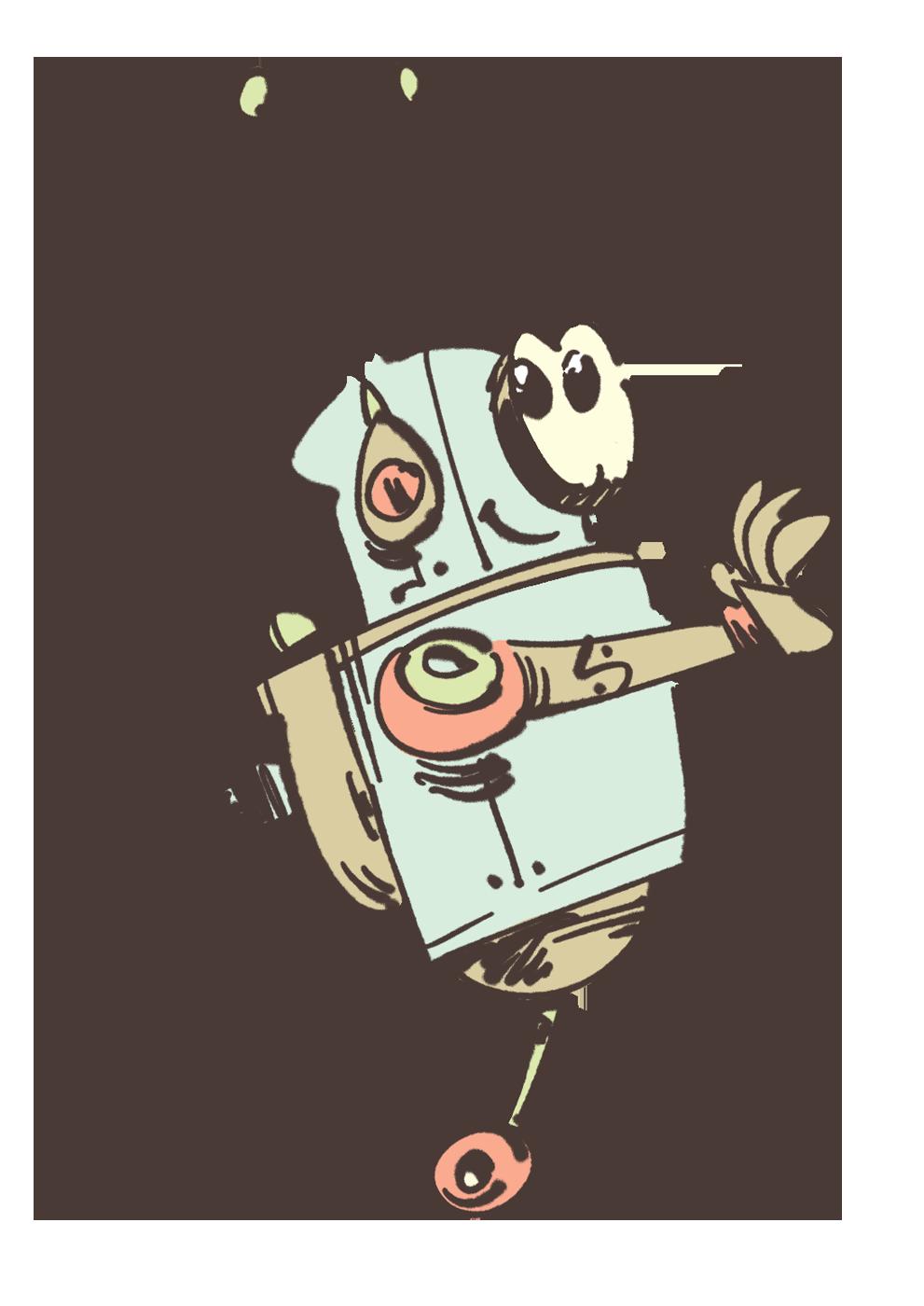Cute robot on mono wheel - illustration by Cesare Asaro