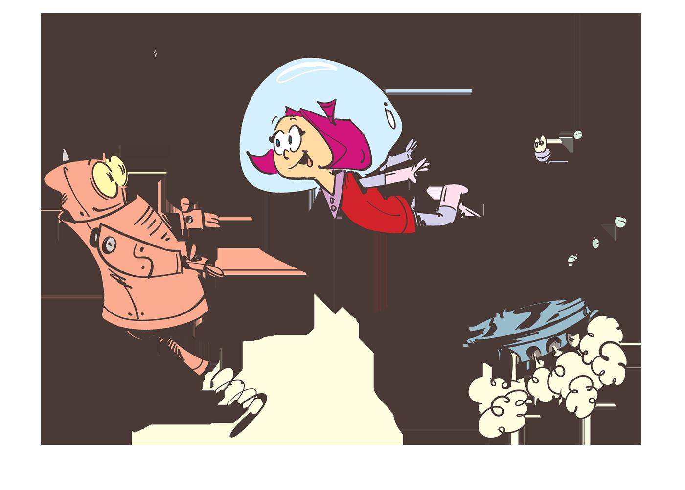 Dekkin jumping off a platform in the Arties hands - Spaceman Jax - Illustration by Cesare Asaro