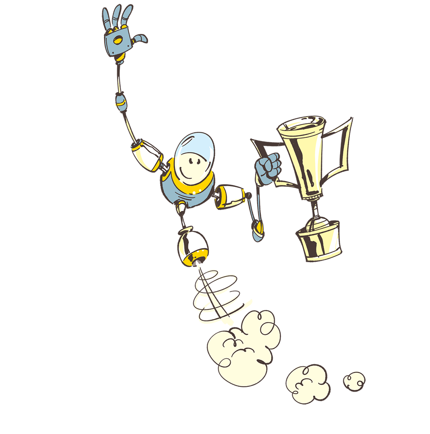 AZR0 robot with champion cup - illustration by Cesare Asaro
