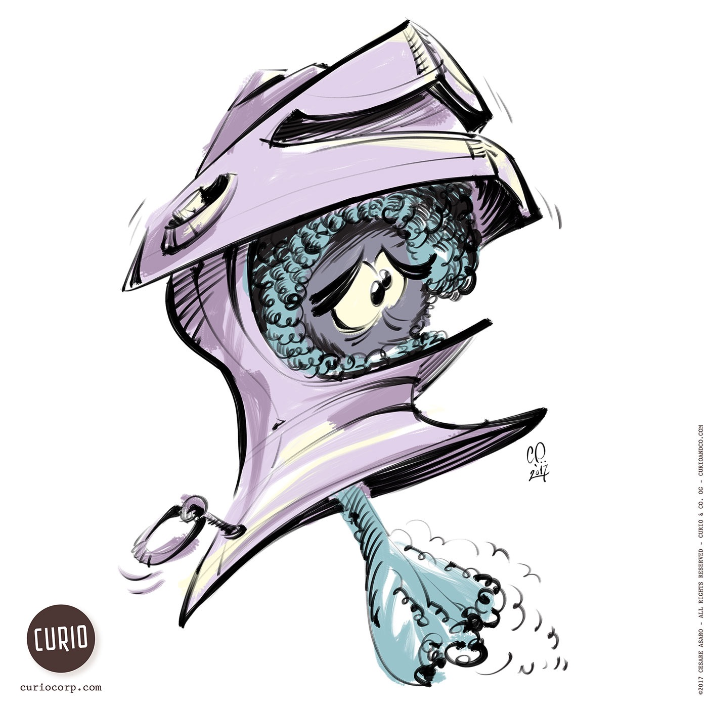 Ghost in armor helmet - illustration by Cesare Asaro of Curio & Co.