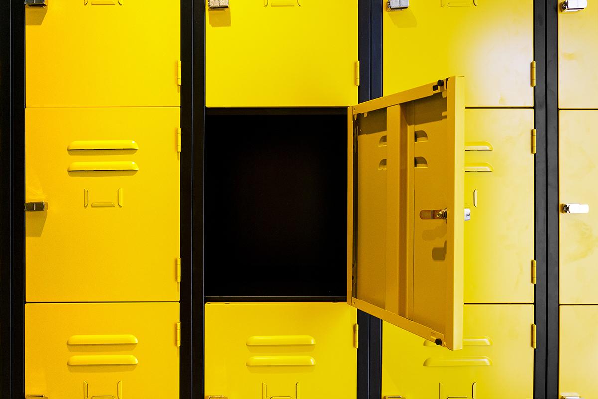 Yellow four door, steel locker