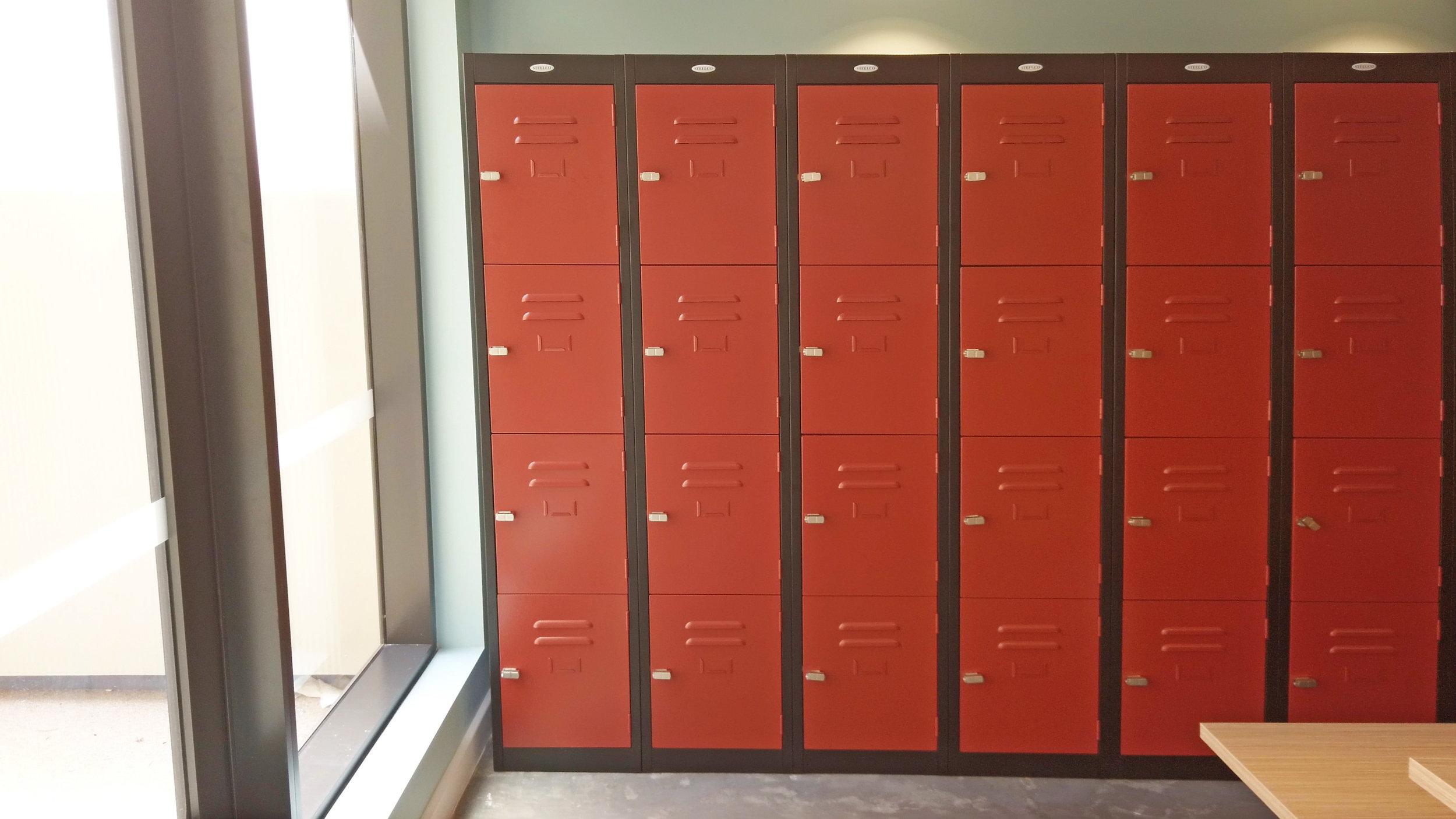 Red four door, steel locker