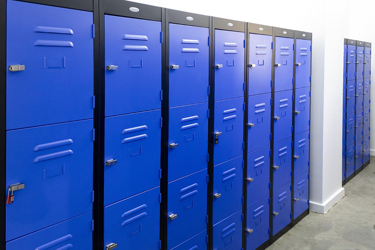 Blue four door, steel lockers