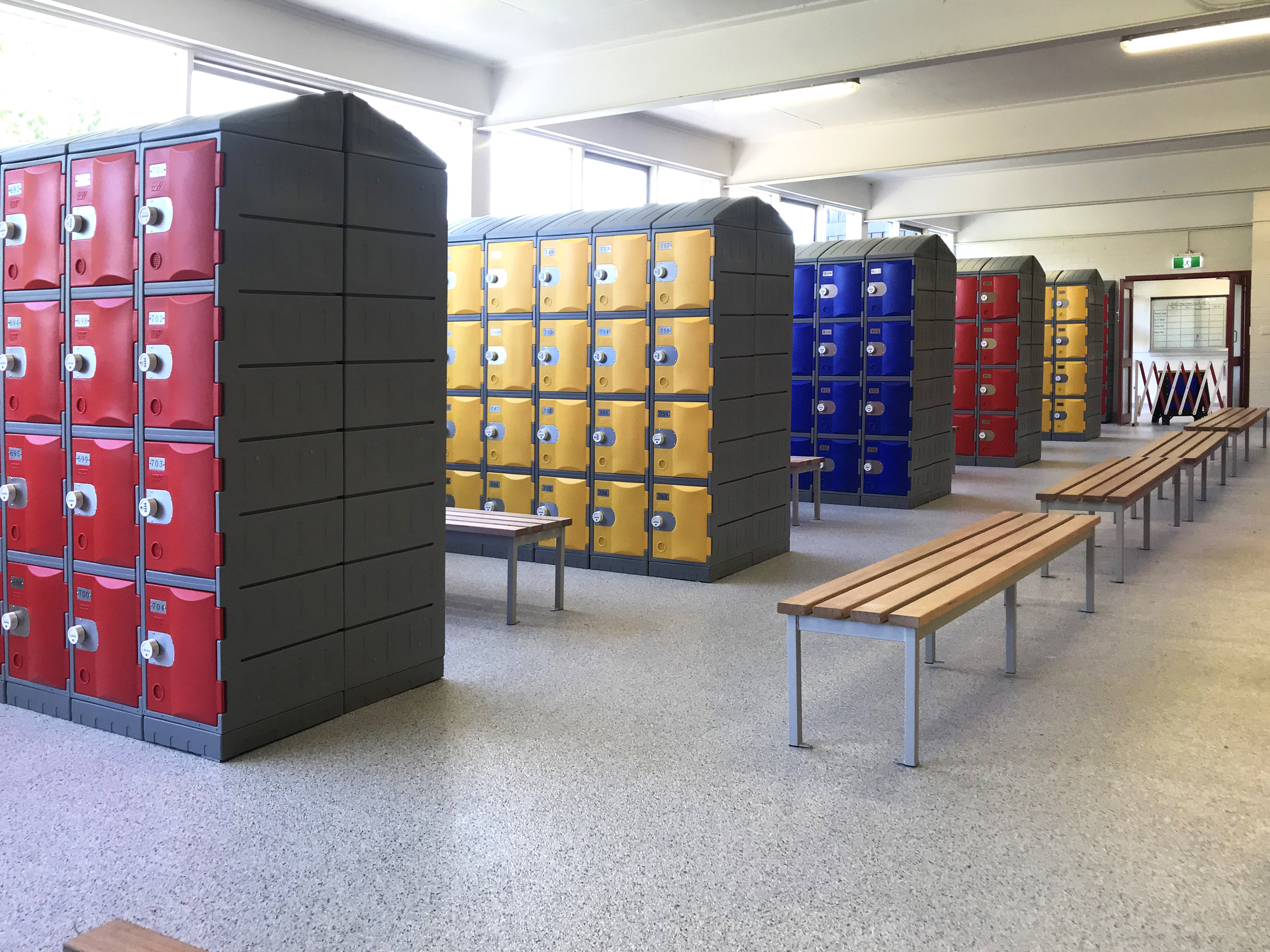 Red, yellow, and blue heavy duty plastic lockers