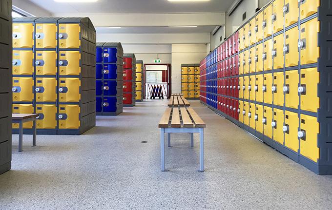 Heavy Duty Plastic Lockers in a school locker room
