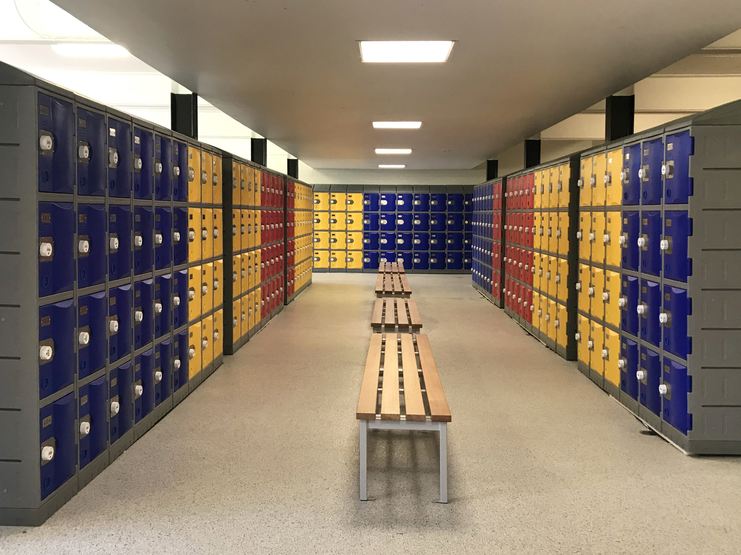 Combination of blue, yellow and red heavy duty plastic lockers