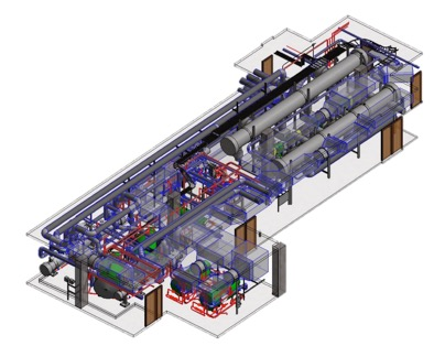AN AS BUILT 3D MODEL FEATURING PIPES, DOORS AND STRUCTURES