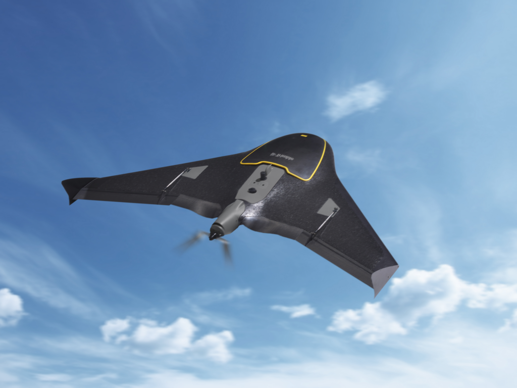 the Trimble ux5, a fixed wing drone