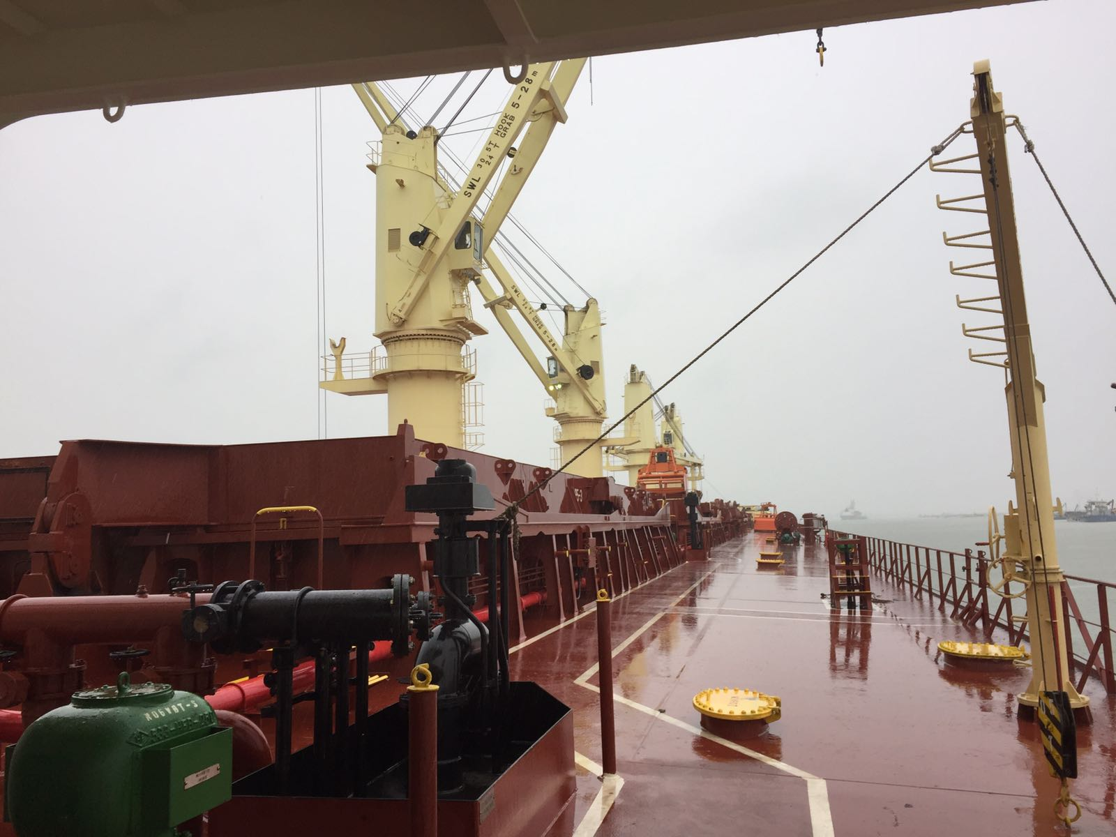 A typical view from the deck of a Bulk Carrier