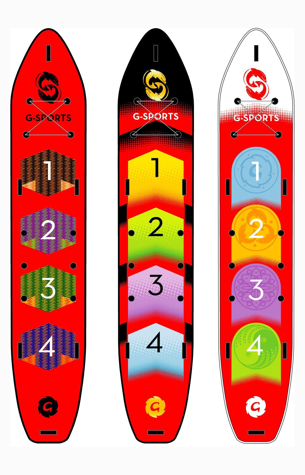 Dragon Board - 4 Palistas remando en fila hacia el objetivo