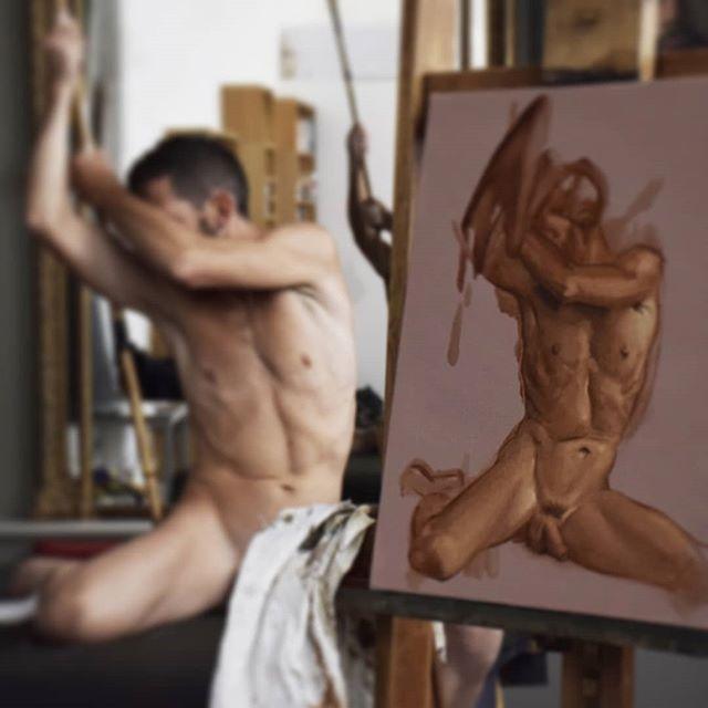 Live model #livemodeldrawing #livemodelpainting #portraitpainting #malenude #malenudepainting #malenudeart #gayart #figurativeart #oilpainting #nudepainting #nudeart #painting #classicalart