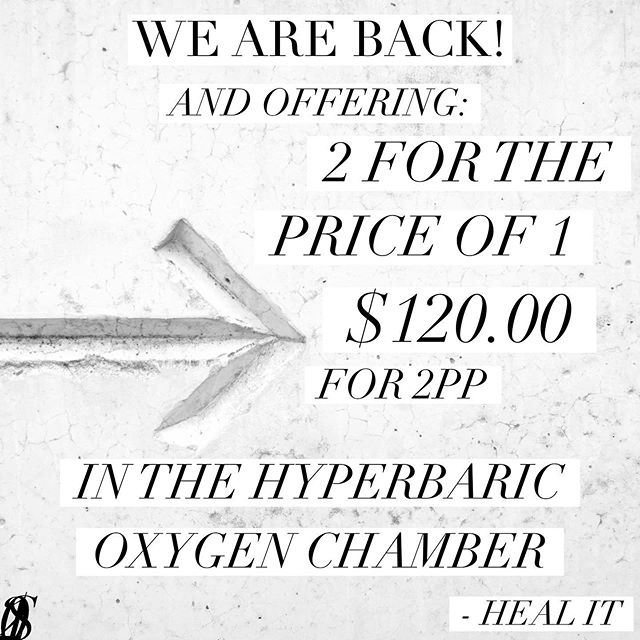 We are back online!  And joining up with ATMs 'Natural Therapy Week' to offer you 241 Hyperbaric Oxygen therapy deals again!  Starting May 20th only until the 26th of May so be sure to get in quick if you been wanting to try this out!