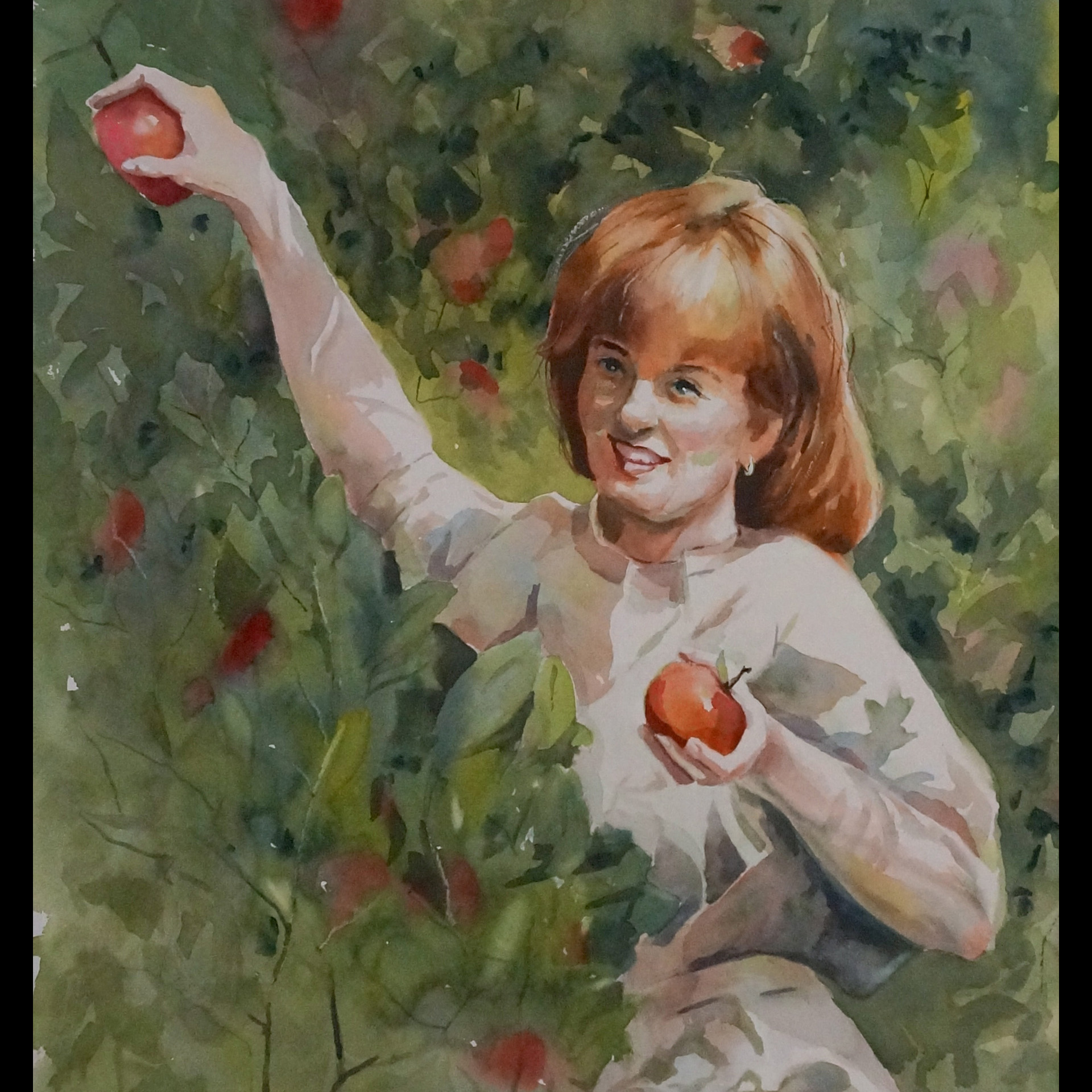 Debra Thomas Weible picking apples in Indiana, way before she became an artist.