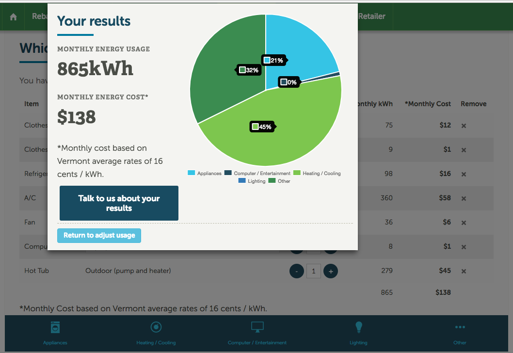 Home energy auditing - Deep Green worked with a client in Vermont to create a highly interactive, browser-based tool for home energy usage assessment. In this case, the deliverable was an Angular component designed by a third party to be embedded in a host site.