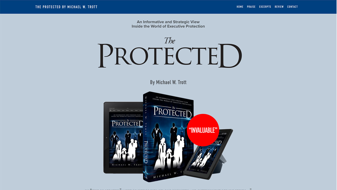 Book promotional website for The Protected by Michael Trott.