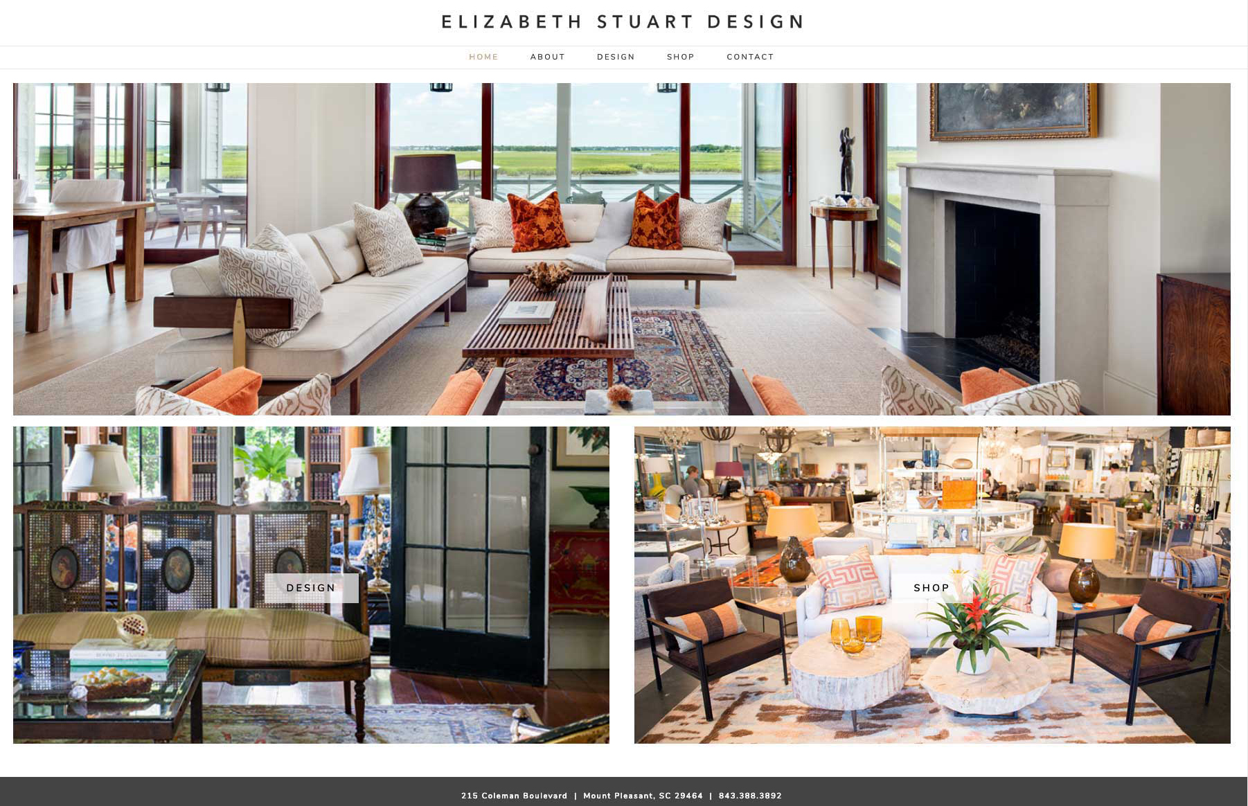 Elizabeth Stuart Design Wordpress website by Caitilin McPhillips.