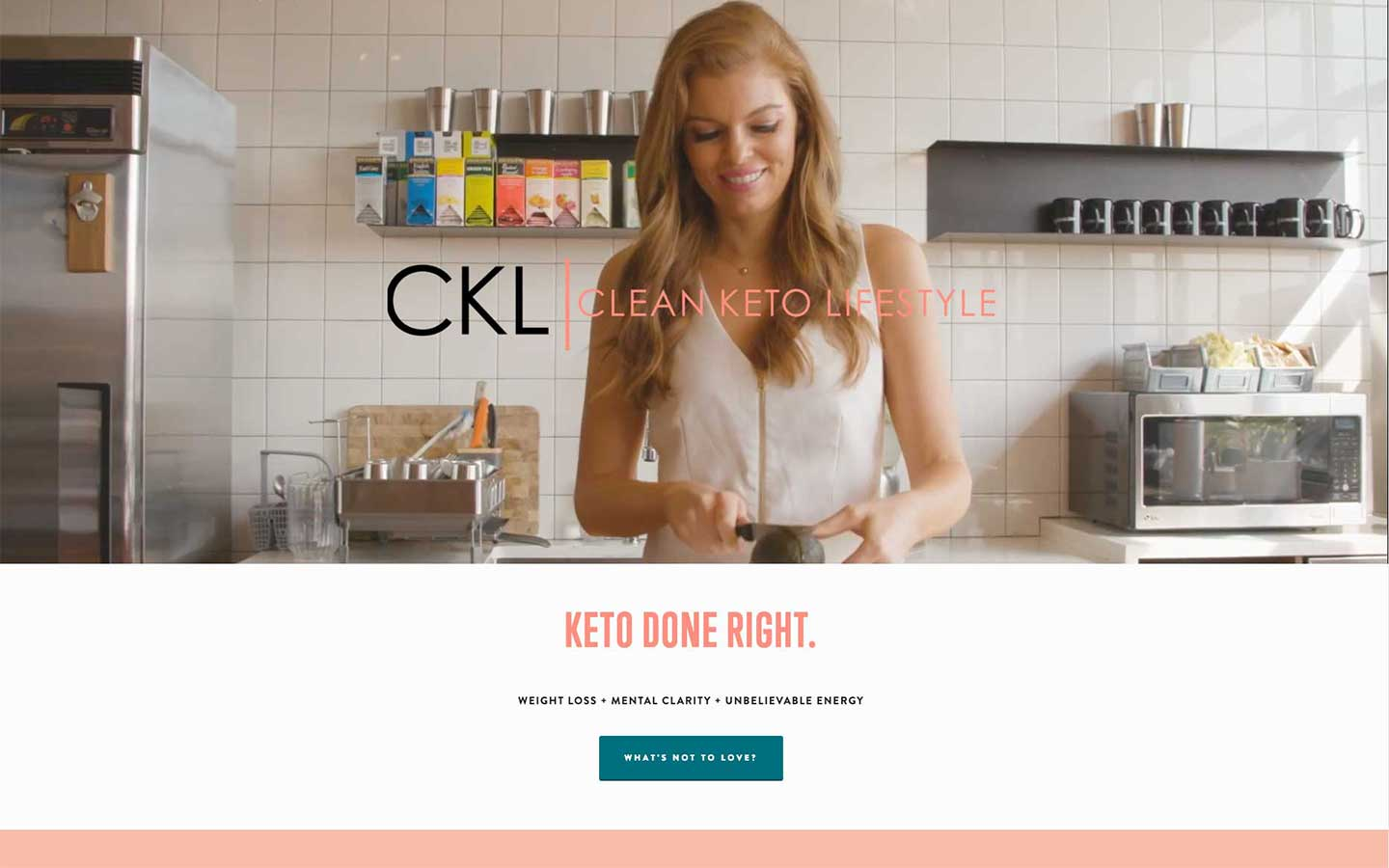 Clean Keto Lifestyle Squarespace website with health coach, Karissa Long.