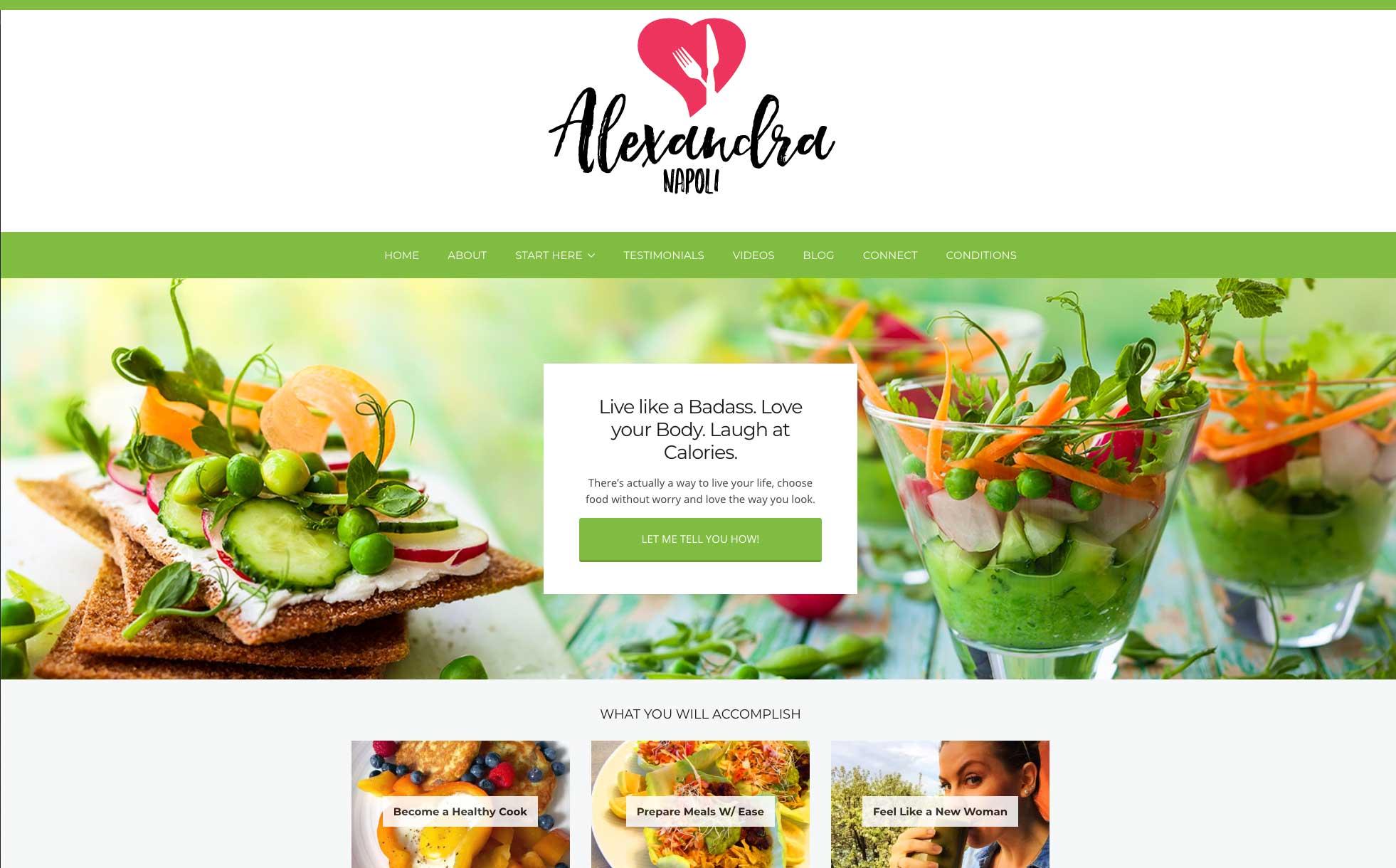 Alexandra Napoli Health Coach Squarespace website by Caitilin McPhillips.