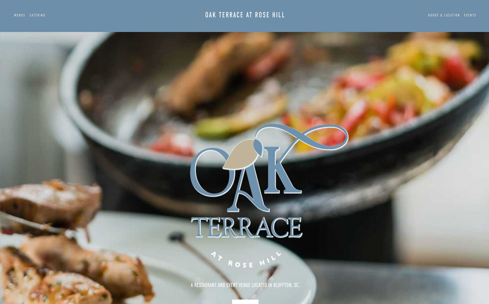 Oak Terrace at Rose Hill Catering and Restaurant Squarespace website by Caitilin McPhillips.