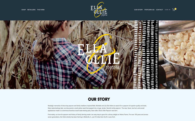 Ella & Ollie Popcorn Squarespace website by Caitilin McPhillips.