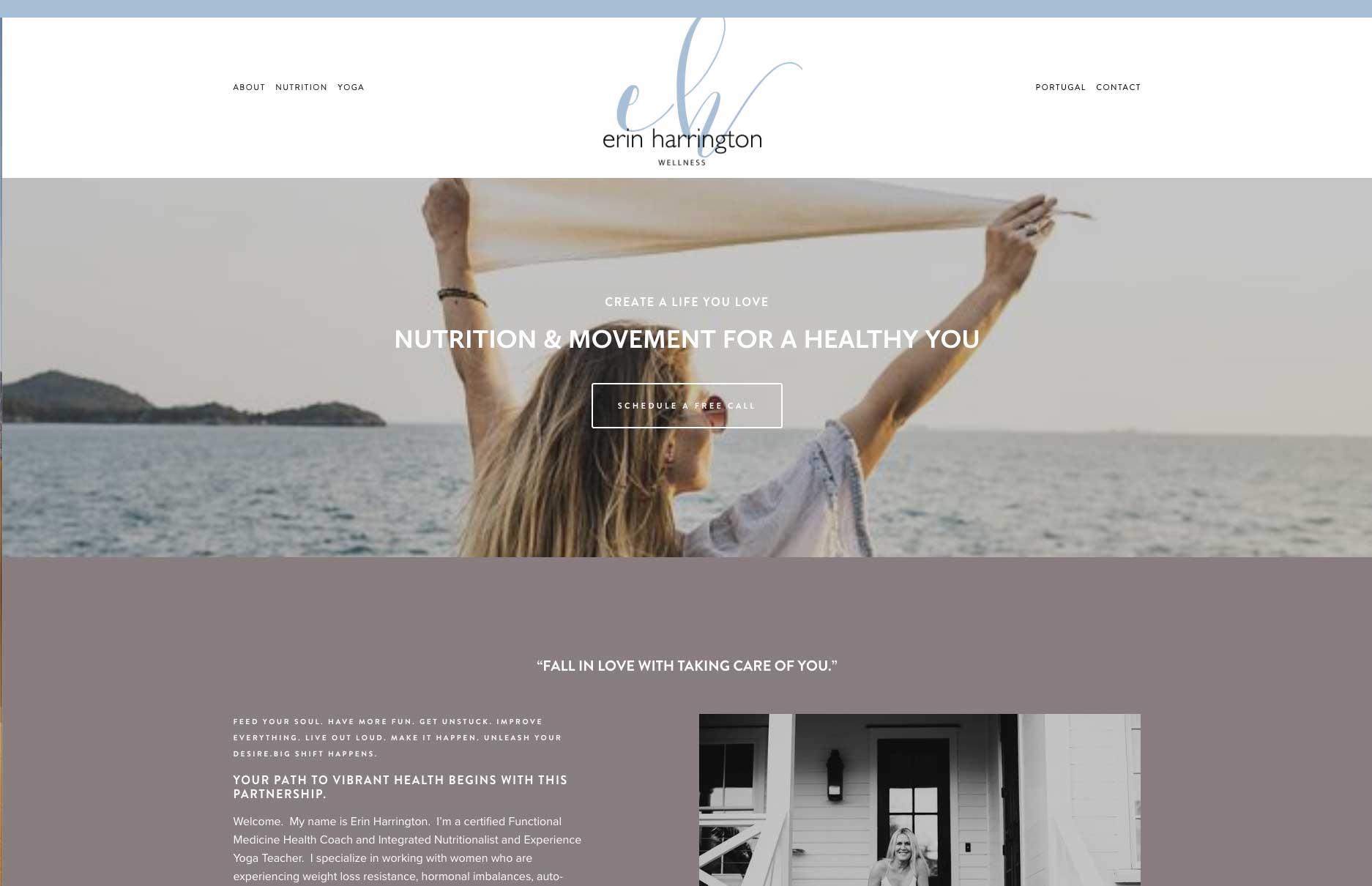 Erin Harrington Wellness Squarespace website by Caitilin McPhillips.