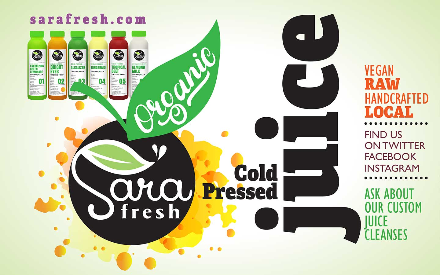 Graphic design by Caitilin McPhillips for an organic food cart based in Florida.