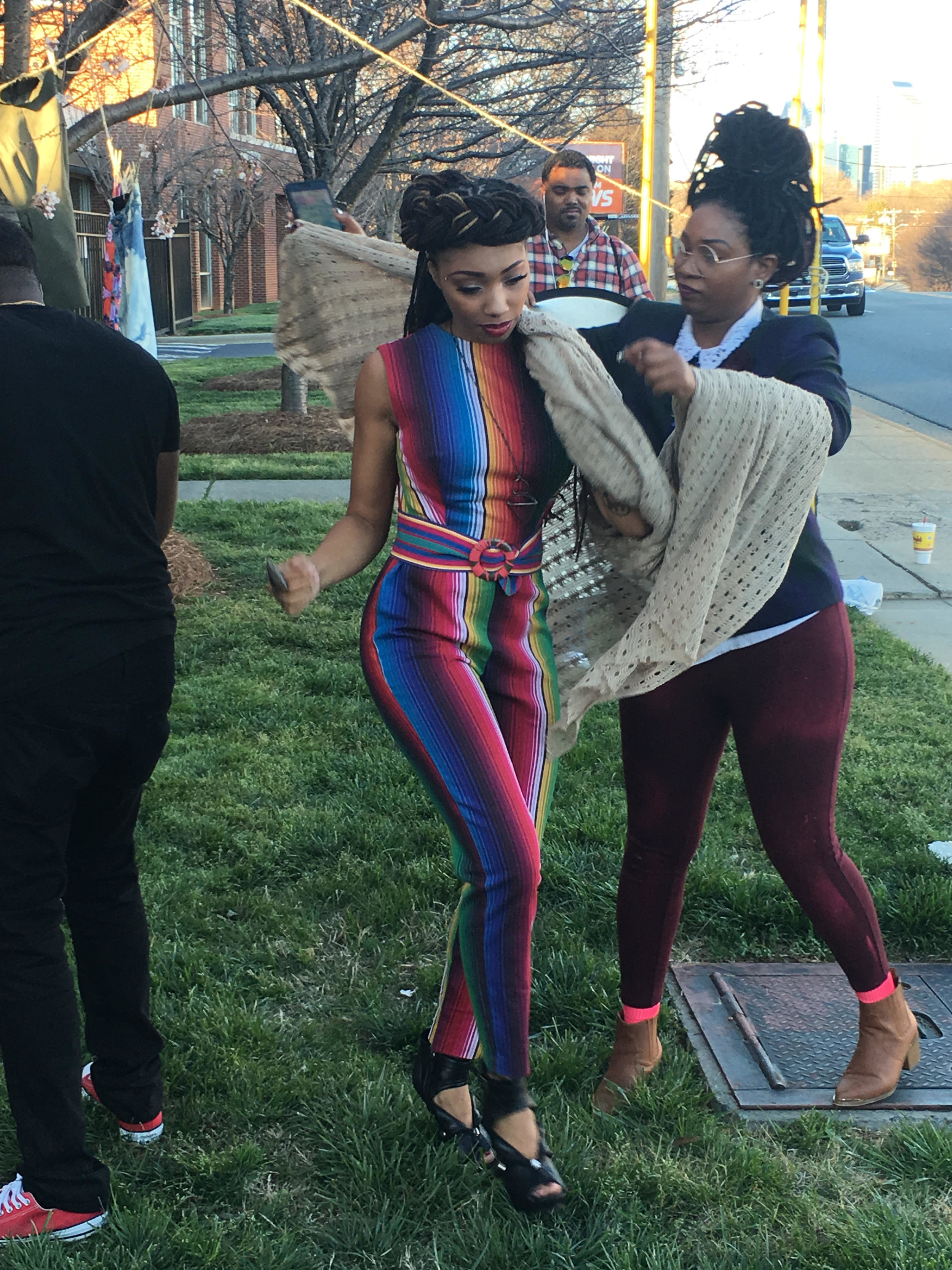 Jamese Patterson pictures above as Asst. Stylist for VonRay with Dutchess of VH-1 & Pretty-N-Ink., Editorial Shoot for Heed Magazine