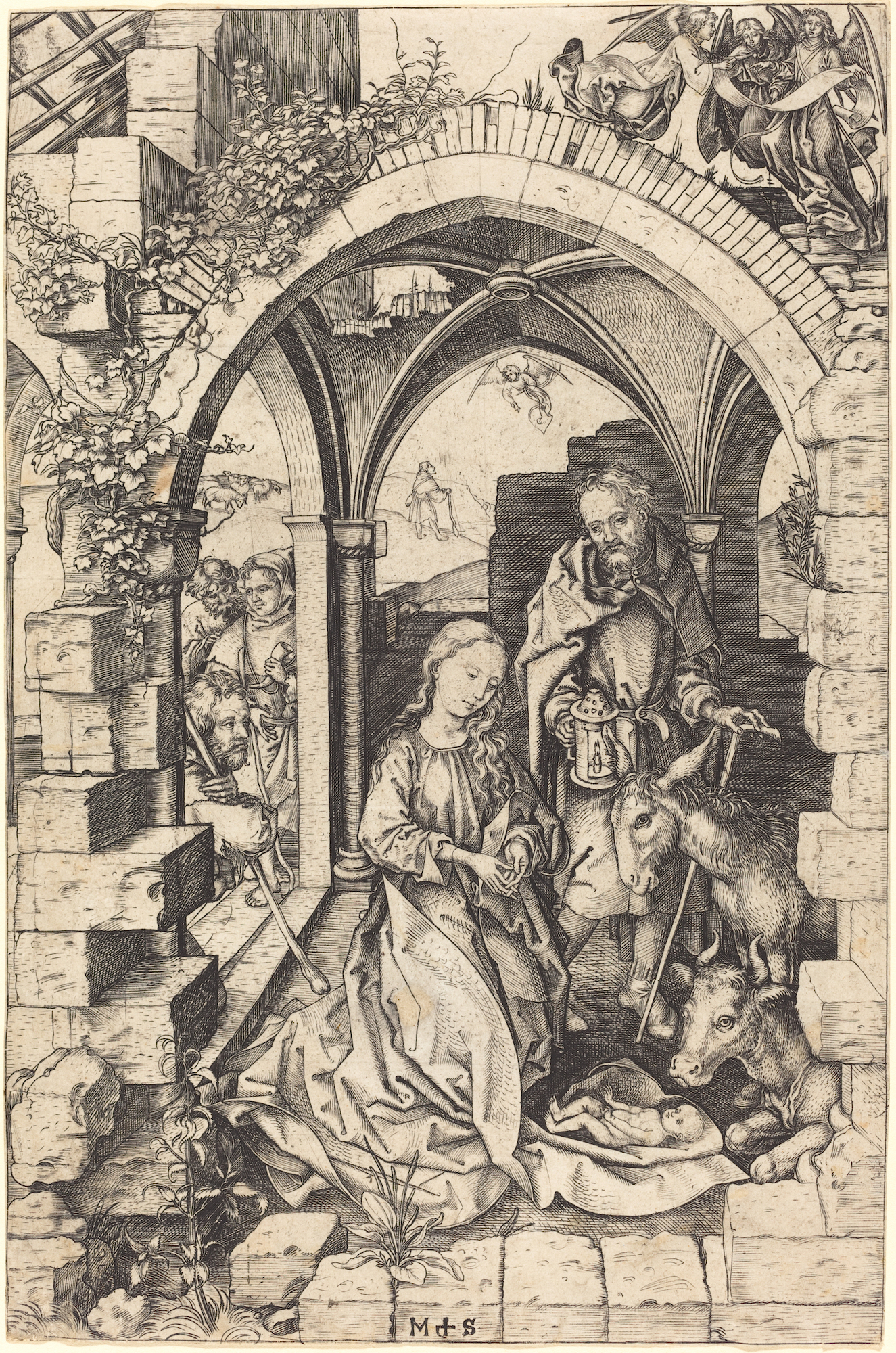 Martin Schongauer (German, c. 1450–91),  The Nativity . From the collection of the National Gallery of Art, Washington.