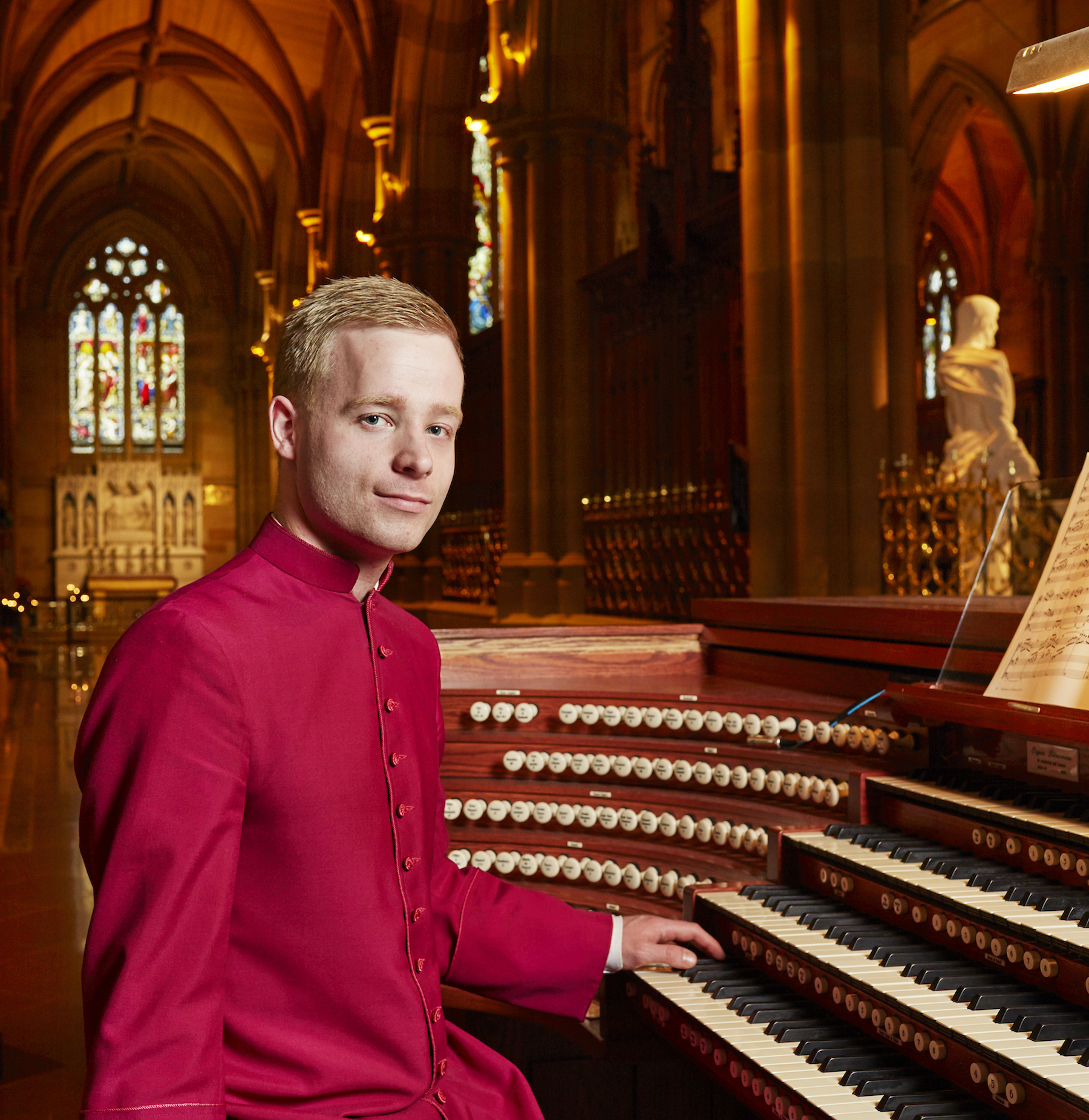 Michael Butterfield at the organ in St Mary's Cathedral, Sydney.