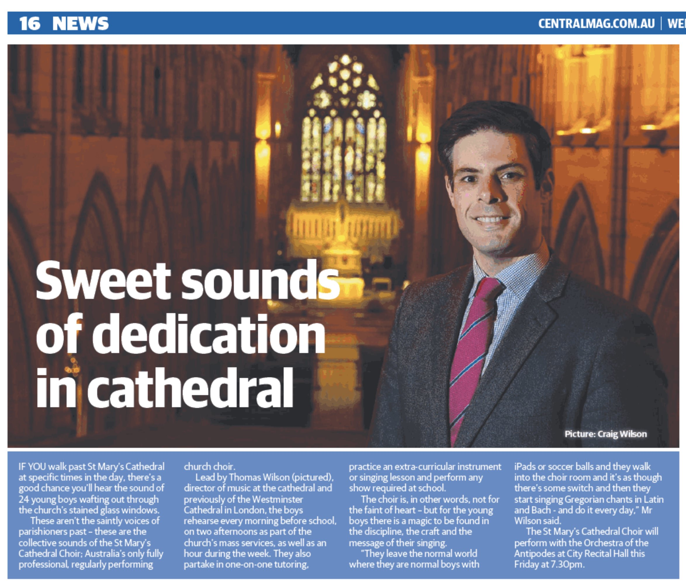 Sydney Central , 'Sweet sounds of dedication in cathedral', 28th June 2017.