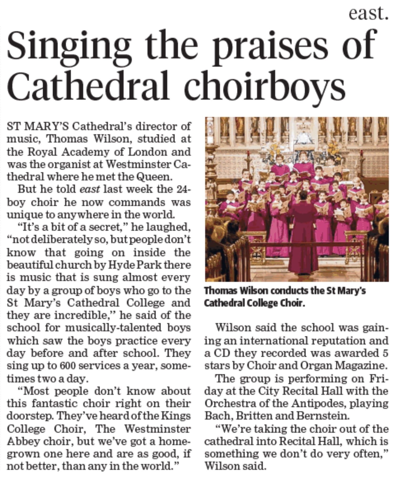Wentworth Courier , 'Singing the praises of Cathedral choirboys', 28th June 2017.