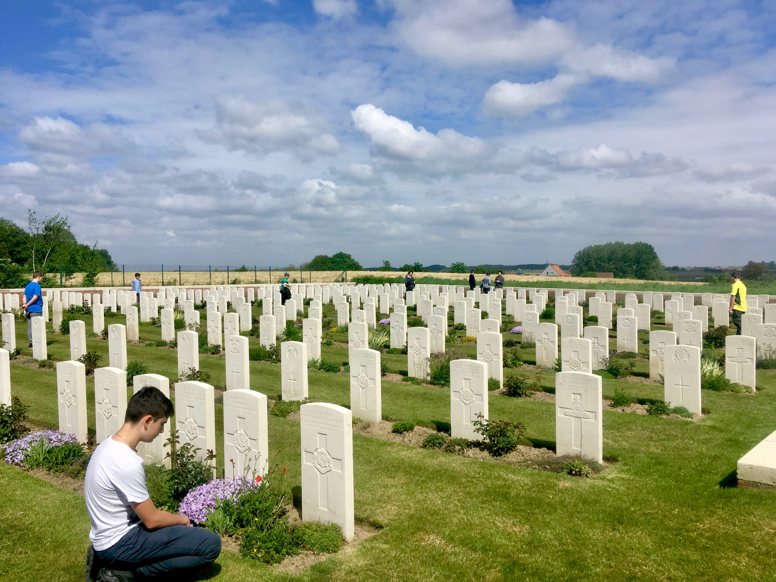 Antonio and others from Saint Mary's Cathedral Choir at Polygon Wood Cemetery.