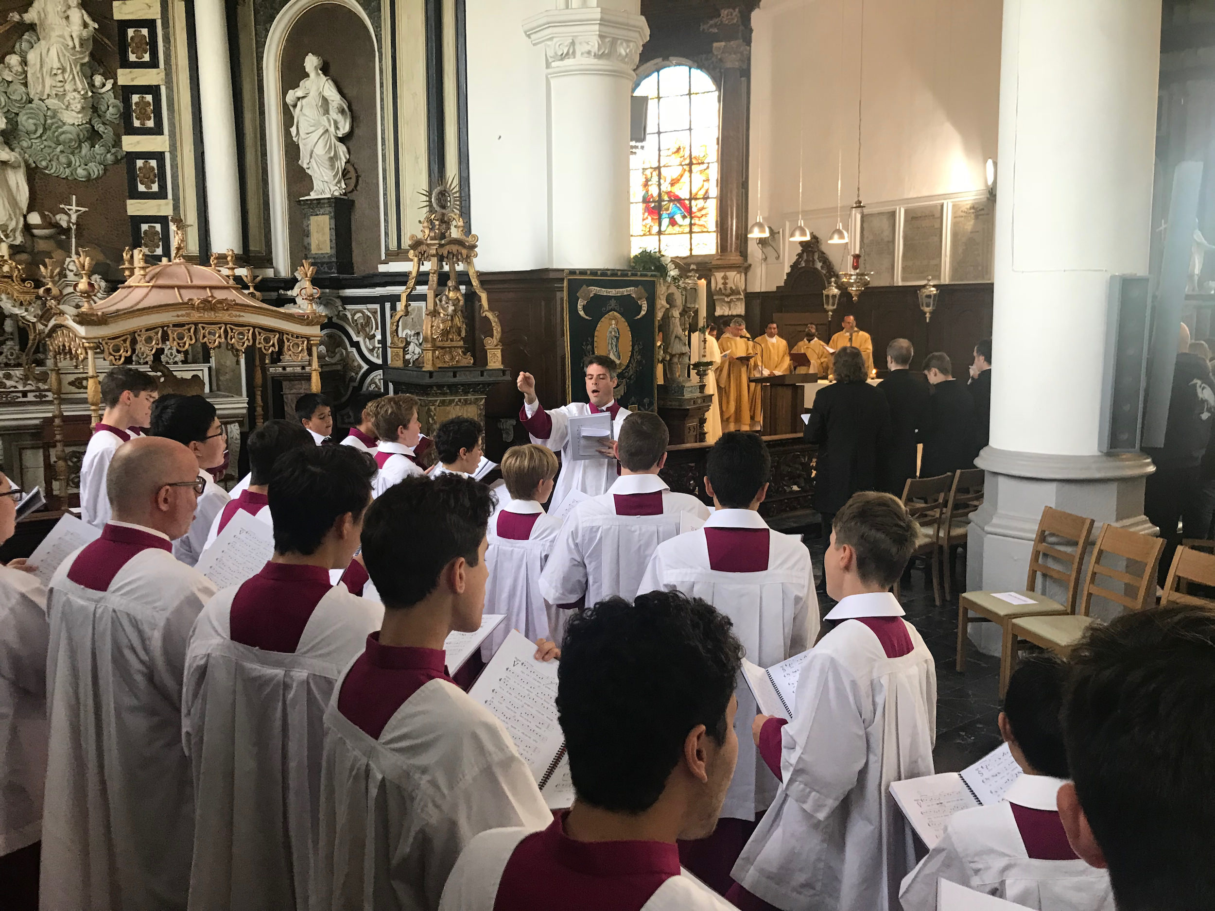 Saint Mary's Cathedral Choir singing at Mass celebrated by the Bishop of Bruges on Saturday 12th May 2018 in the church of St Bavo, Watou.