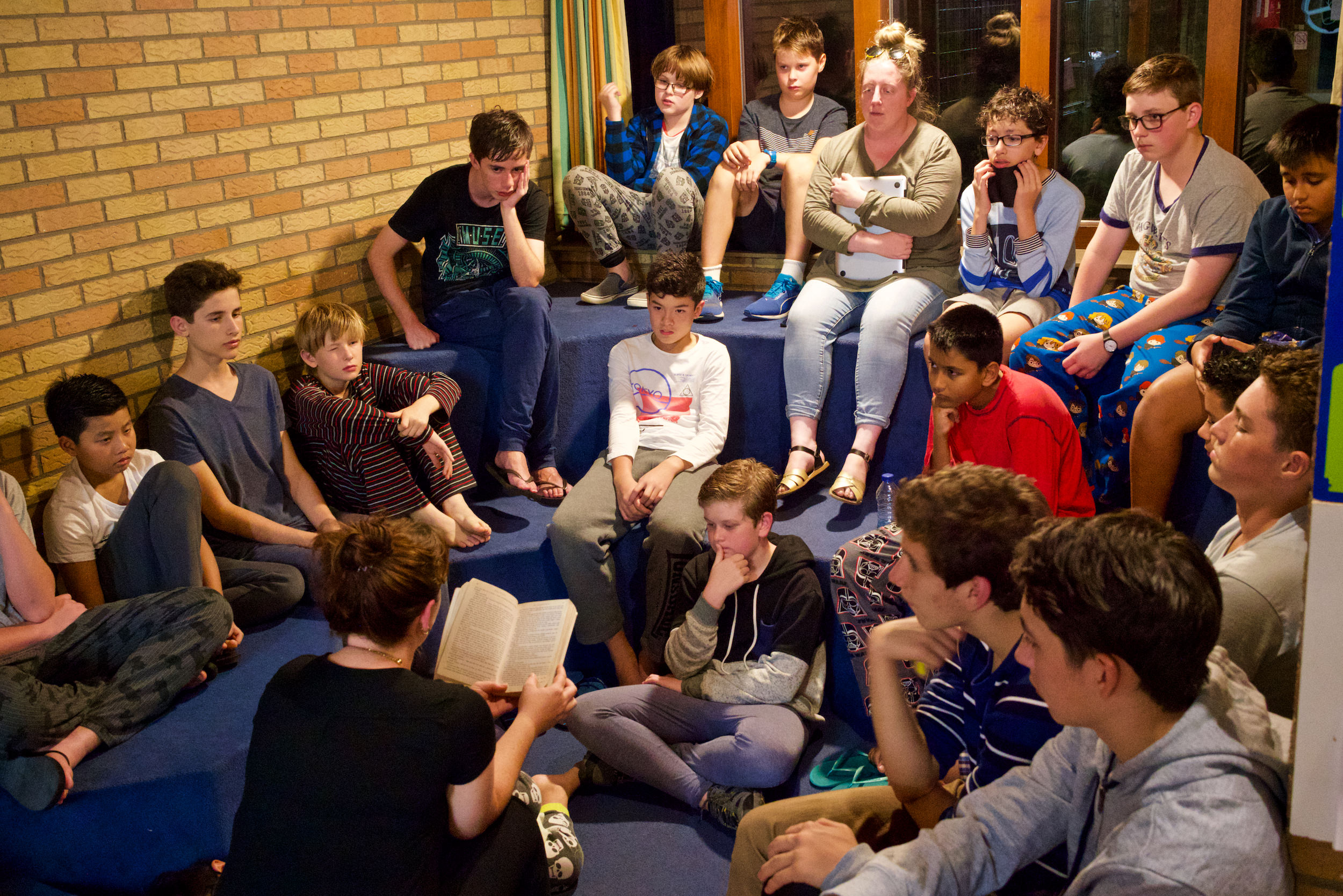 Choristers and Scholars gathered together to listen to the reading of Harry Potter before bed.