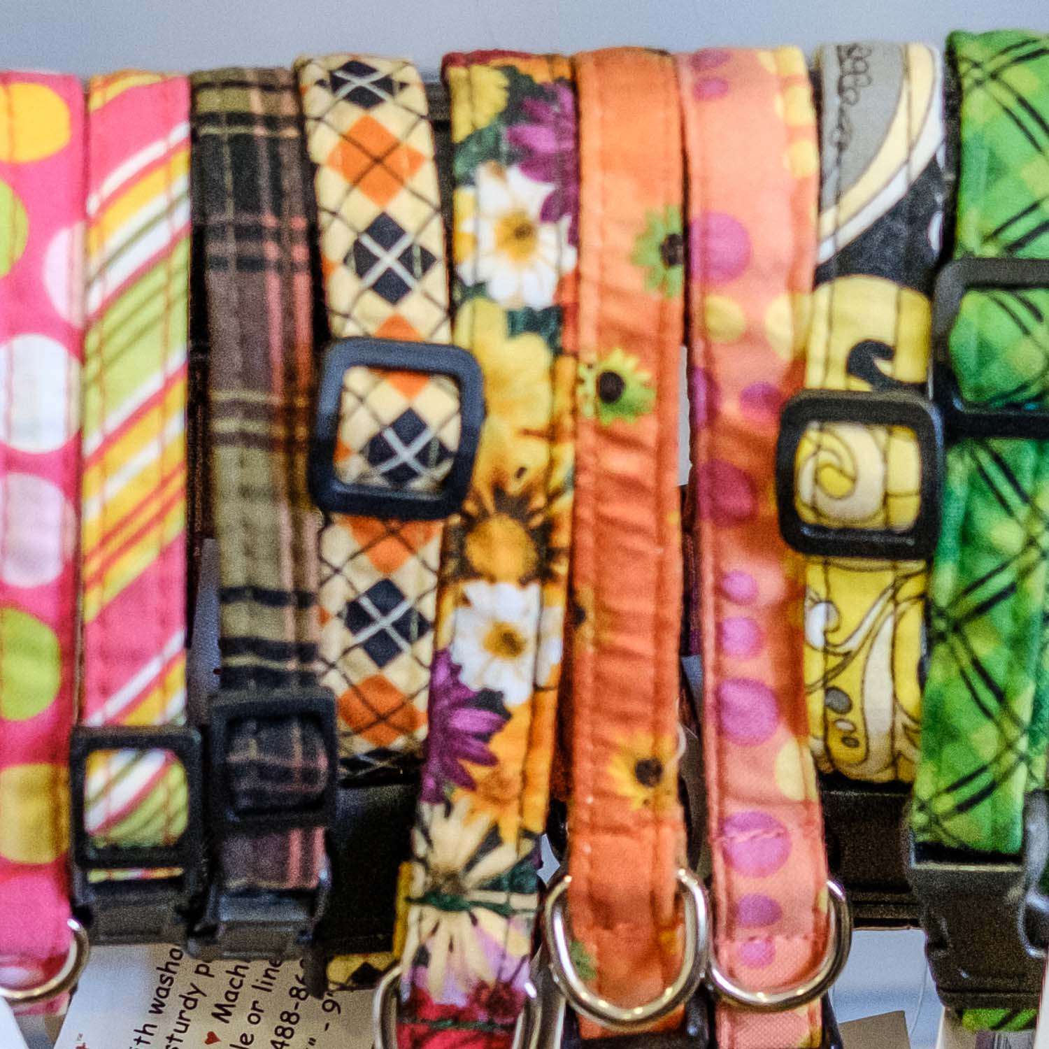 Patterned cloth collars from Elmo's Closet are the perfect essential accessory for any pet.