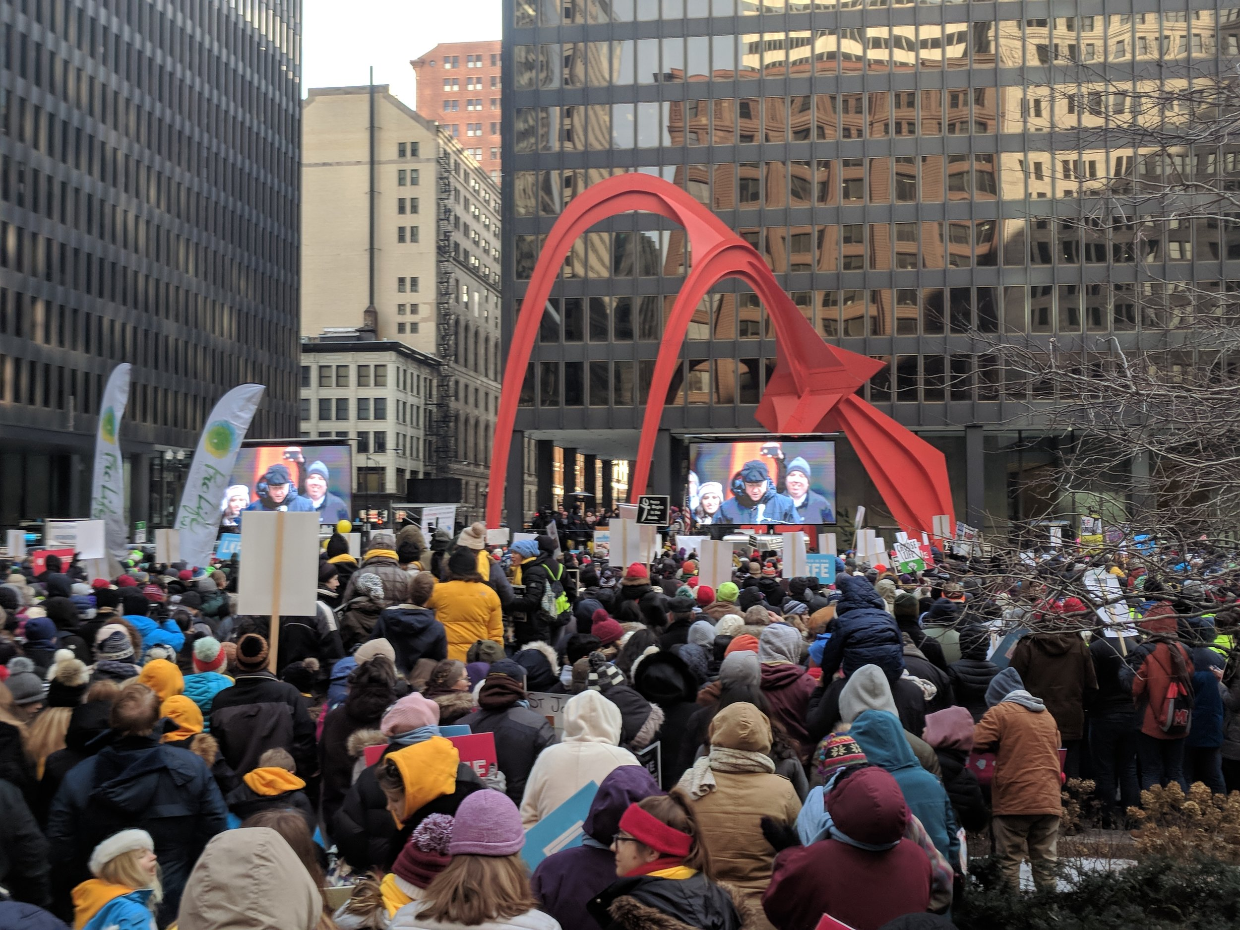 Pictured: Cardinal Blase Cupich from the Archdiocese of Chicago speaks to the crowd at Federal Plaza in downtown Chicago.