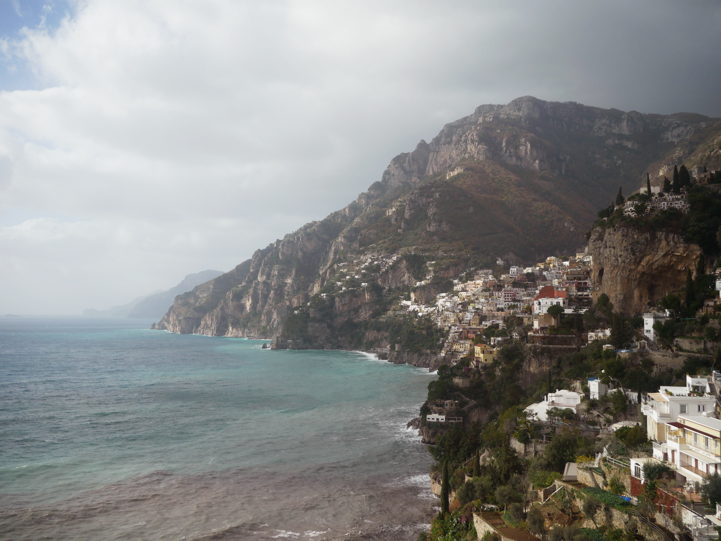 View from the bus looking back at Positano