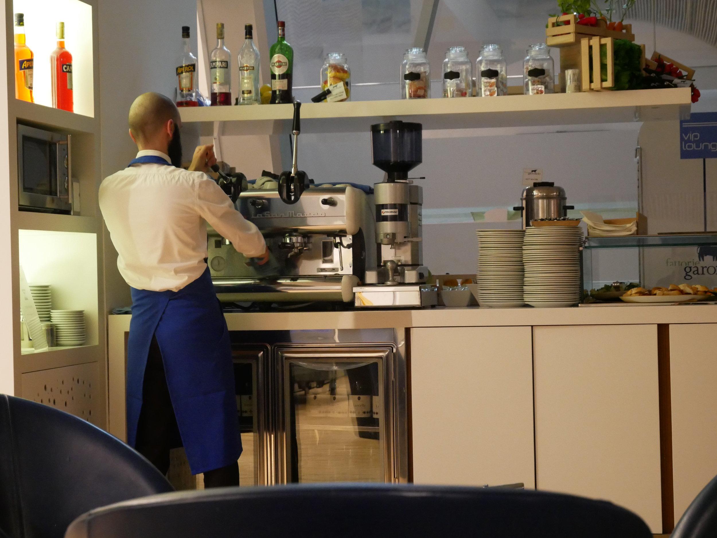 Bergamo Airside VIP lounge barista.jpg