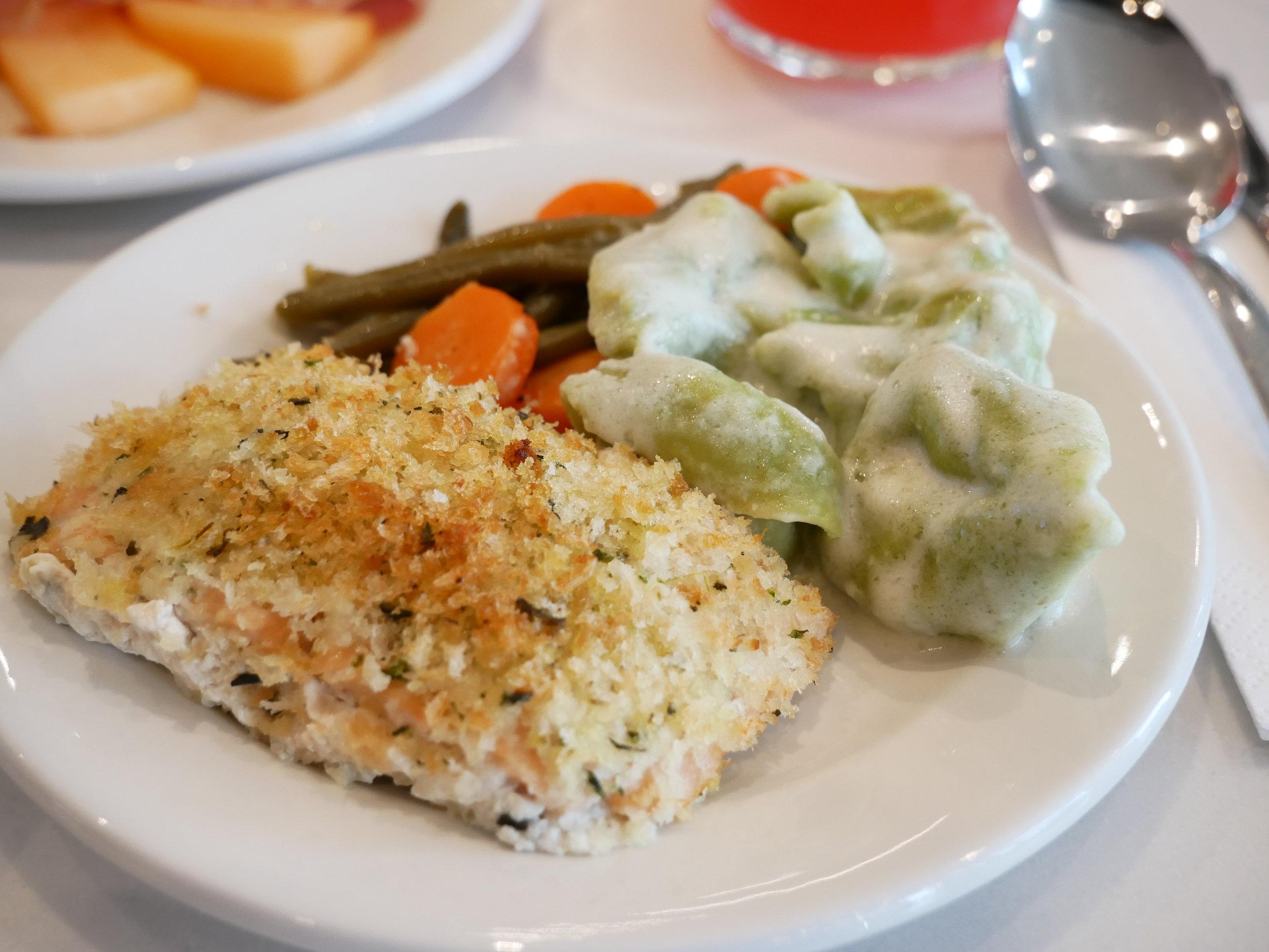 Milan Lufthansa Lounge halibut and pasta