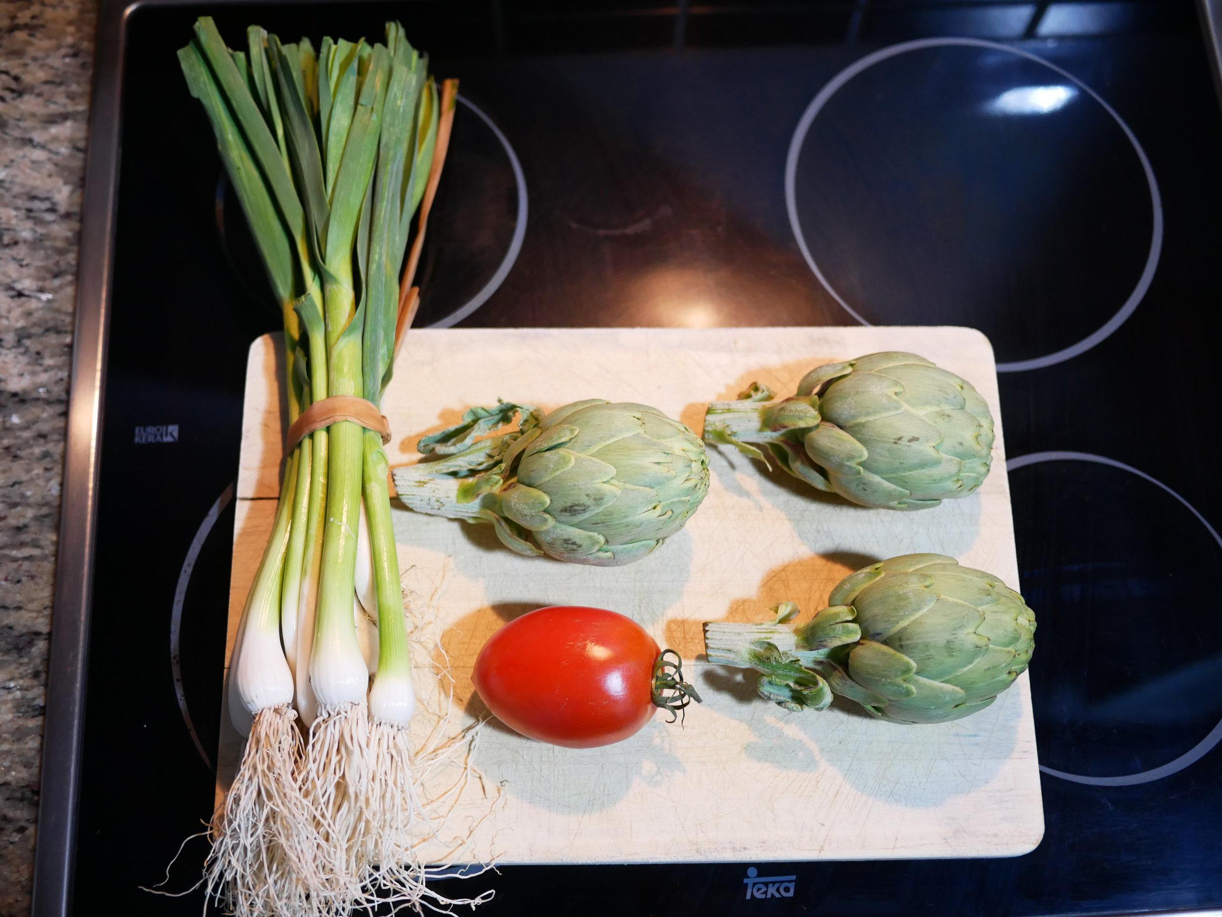 Spring paella ingredients