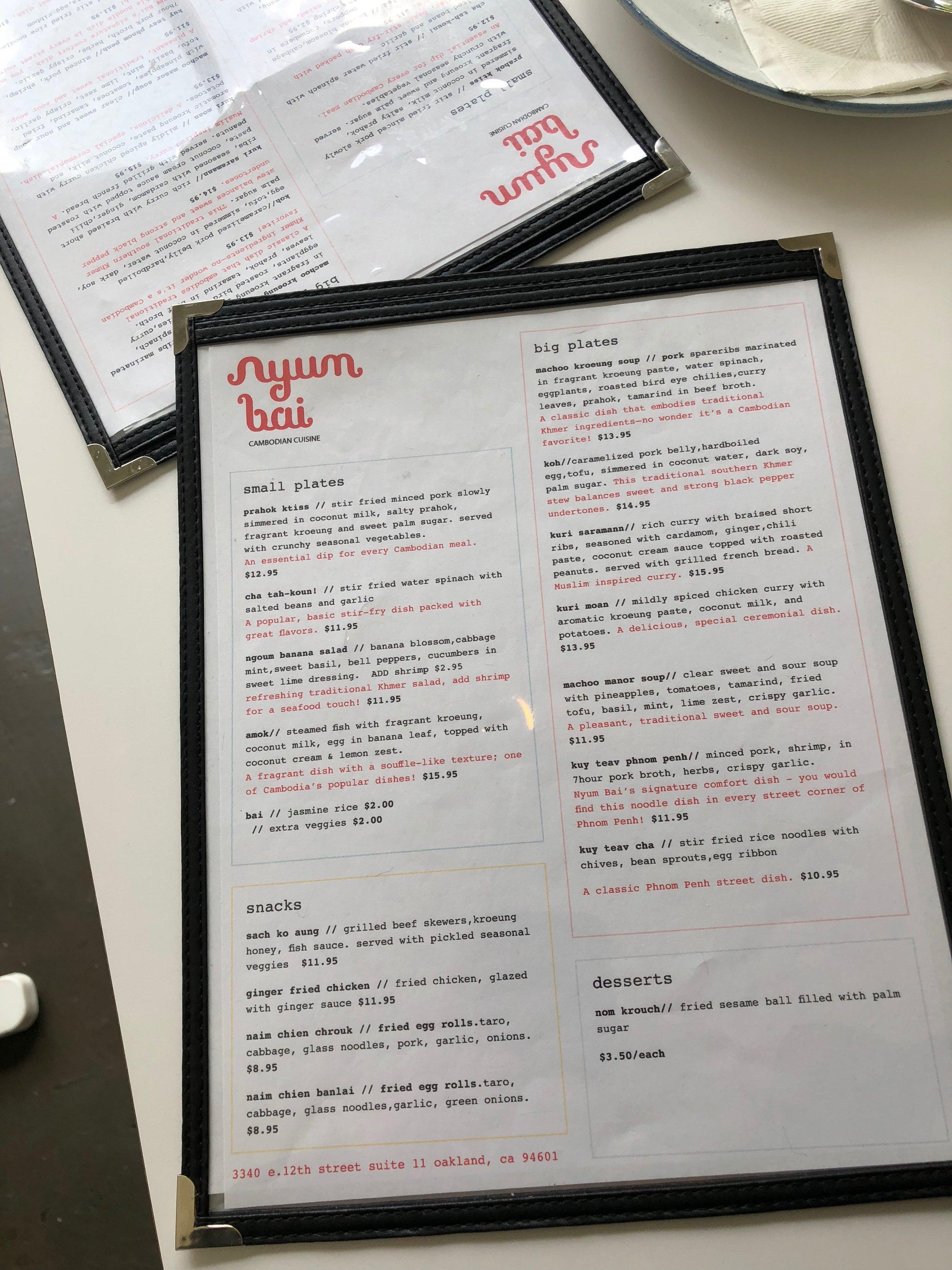 Nyum Bai menu