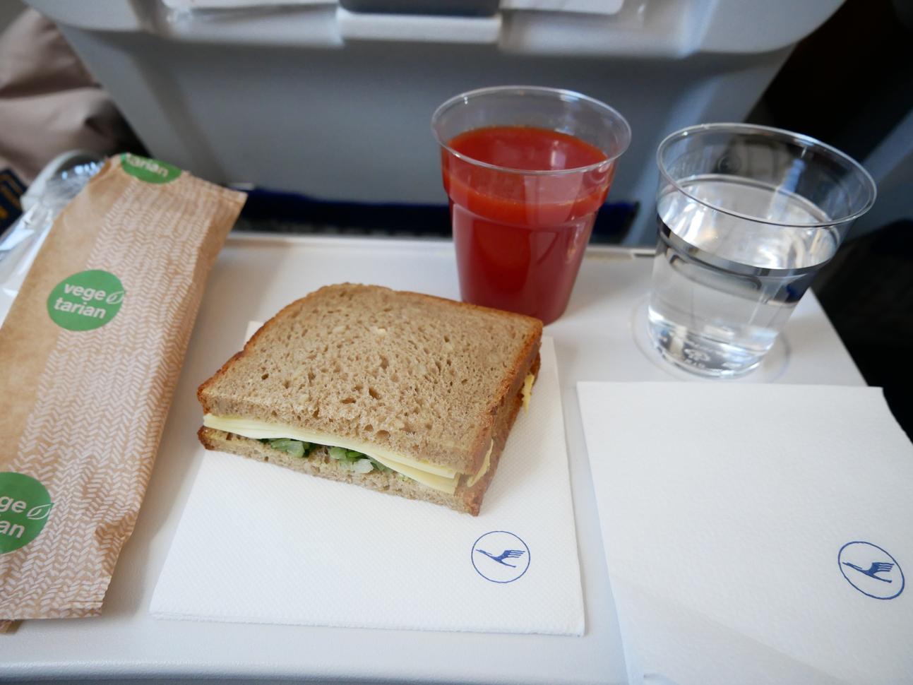 Lufthansa economy cheese sandwich