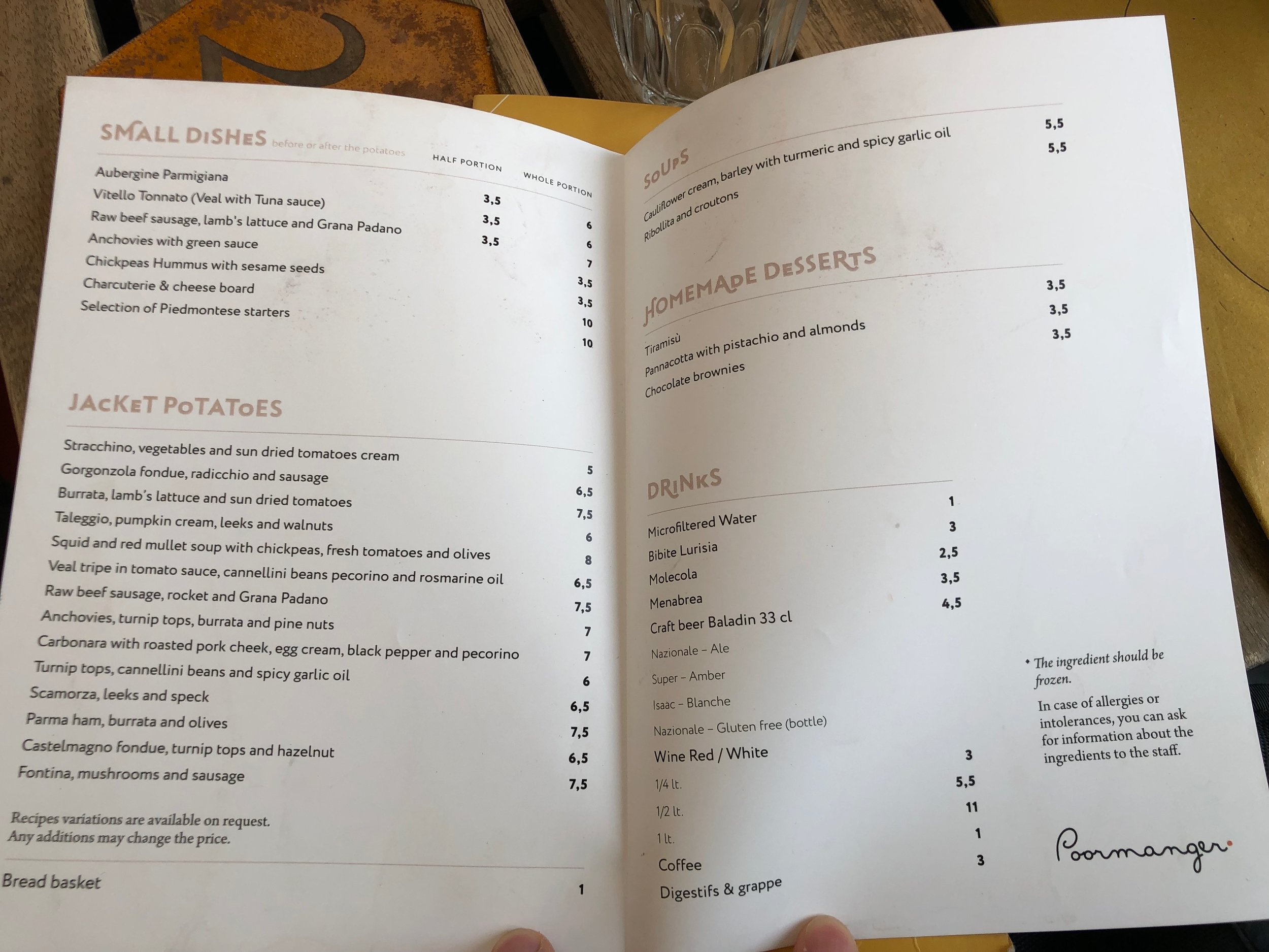 Poormanger menu English