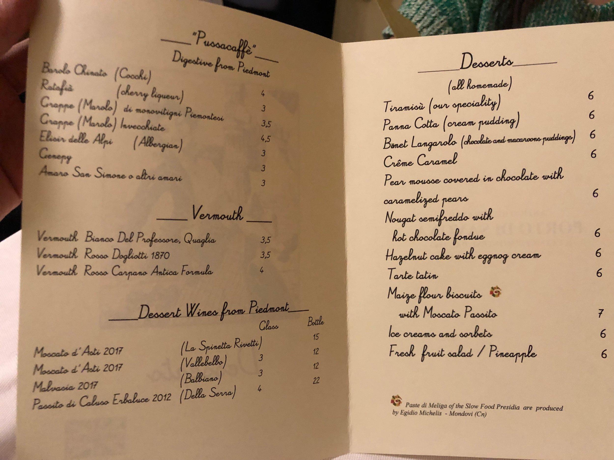 Porto di Savona dessert menu
