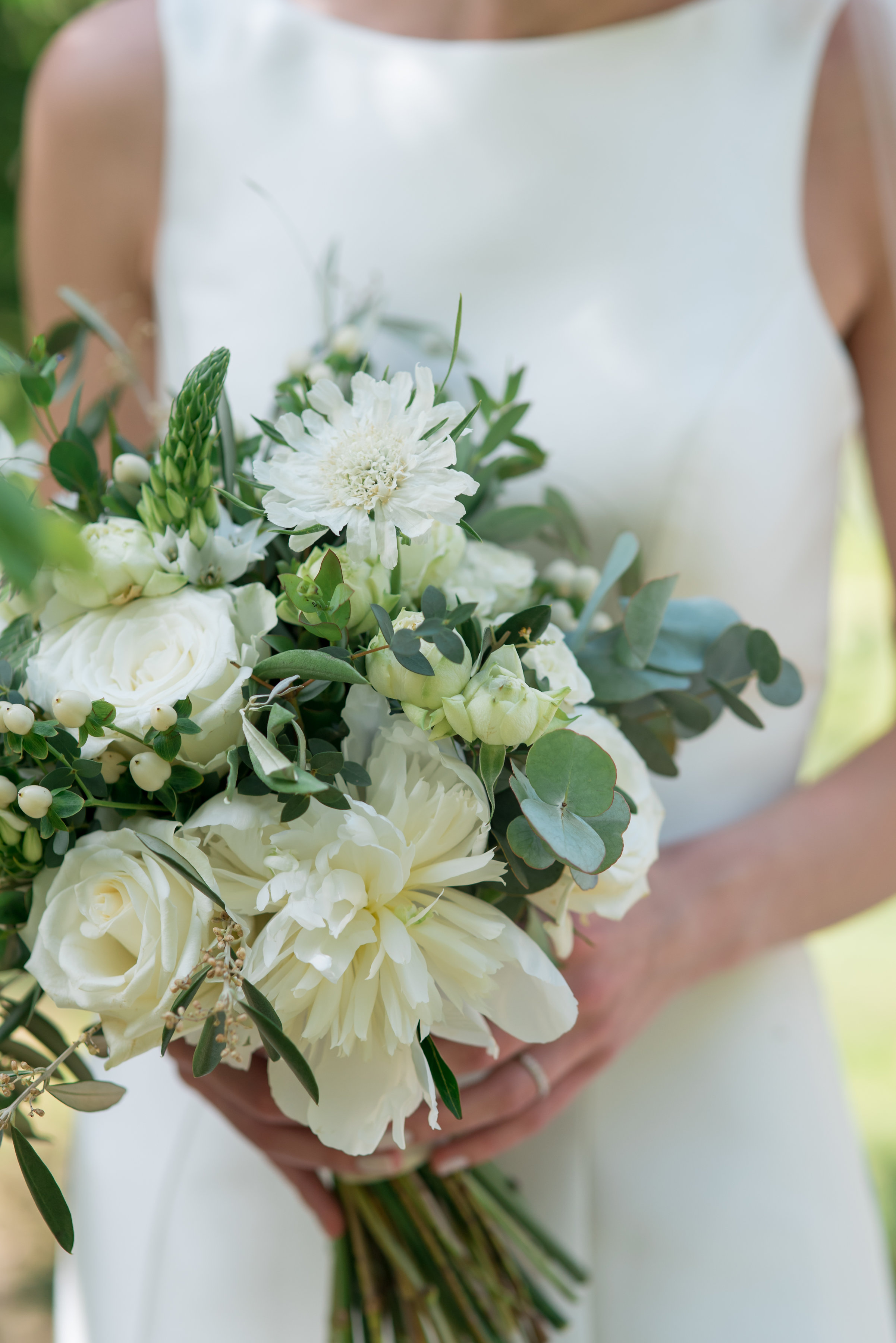 Green and white barn wedding