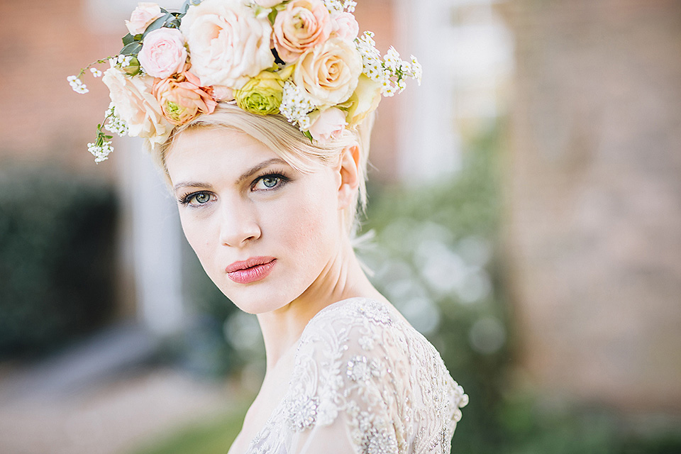 Blush haute couture flower crown